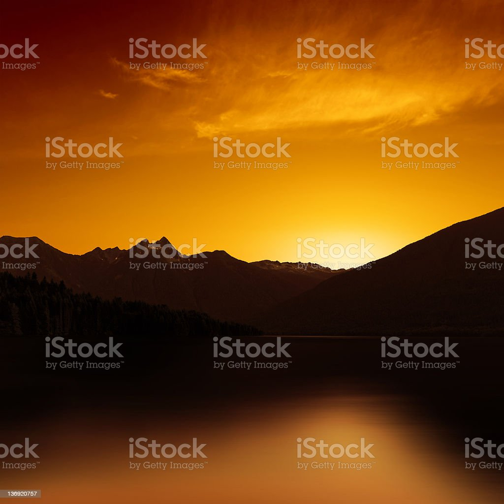 XXL mountain lake sunset royalty-free stock photo