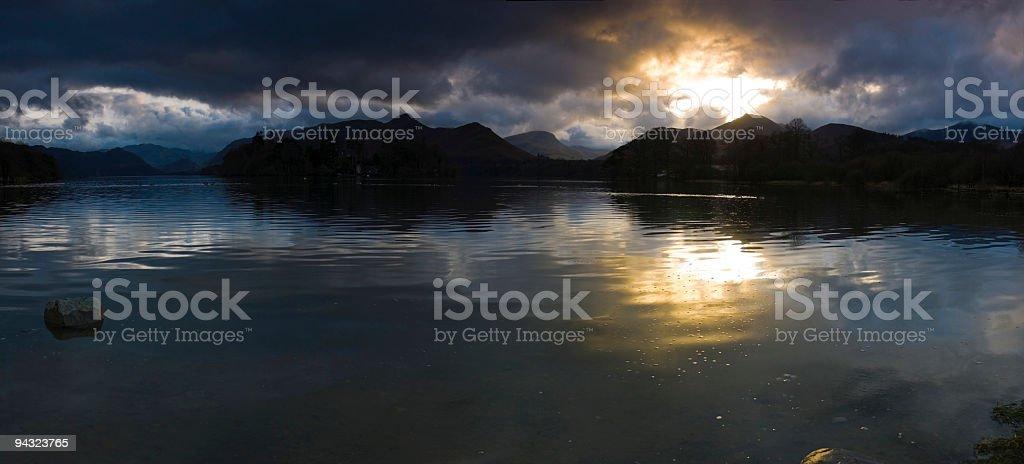 Mountain lake sunset stock photo
