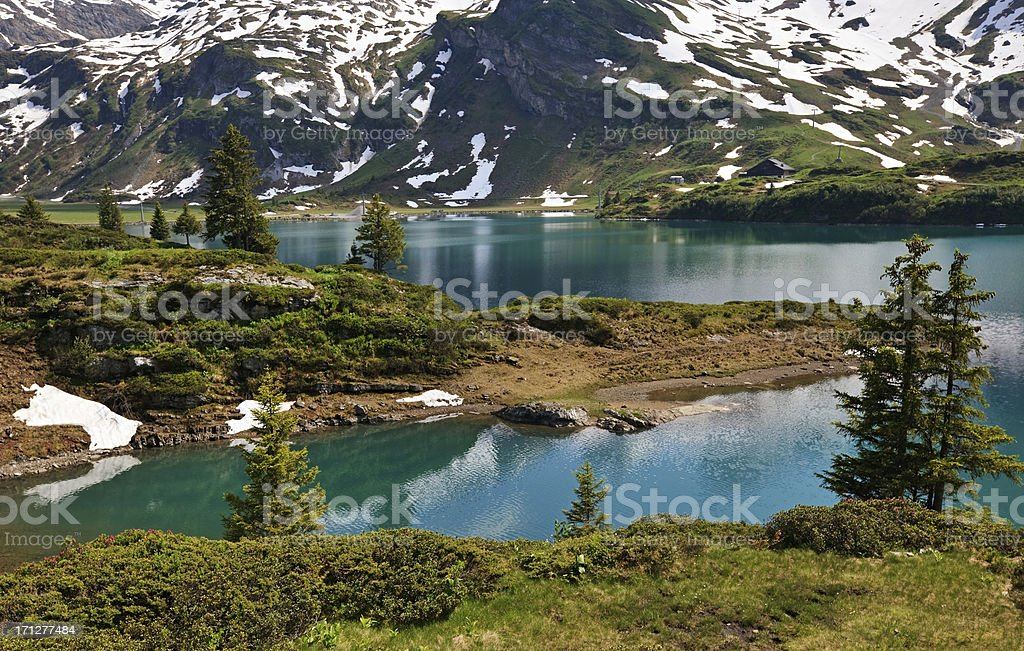 Mountain lake, Switzerland stock photo