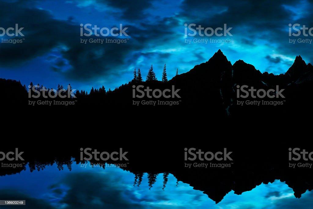 mountain lake twilight stock photo