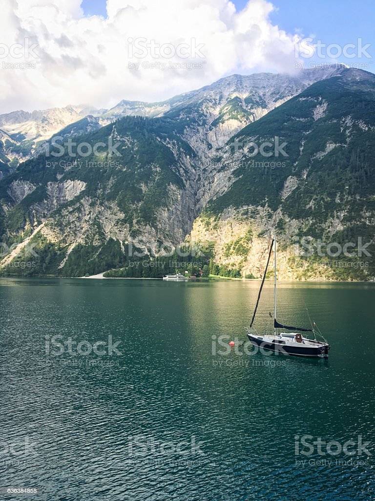 Mountain lake view in the Brandenberger Alps stock photo
