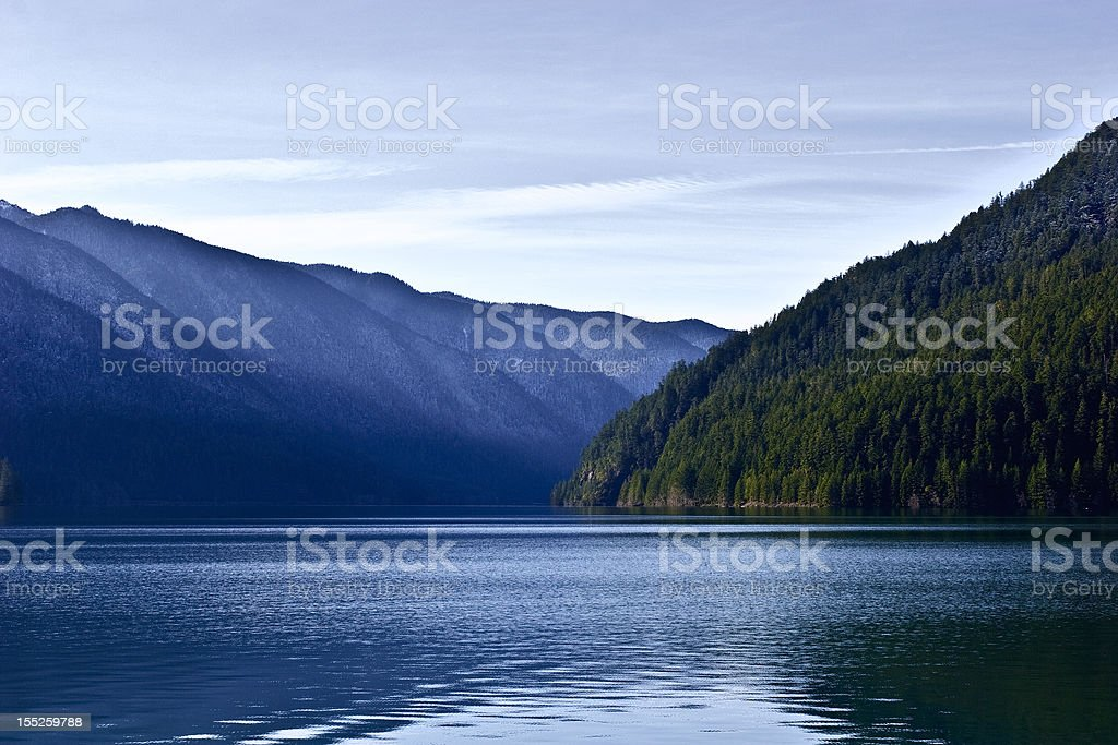Mountain Lake View on a Sunny Winter Morning royalty-free stock photo