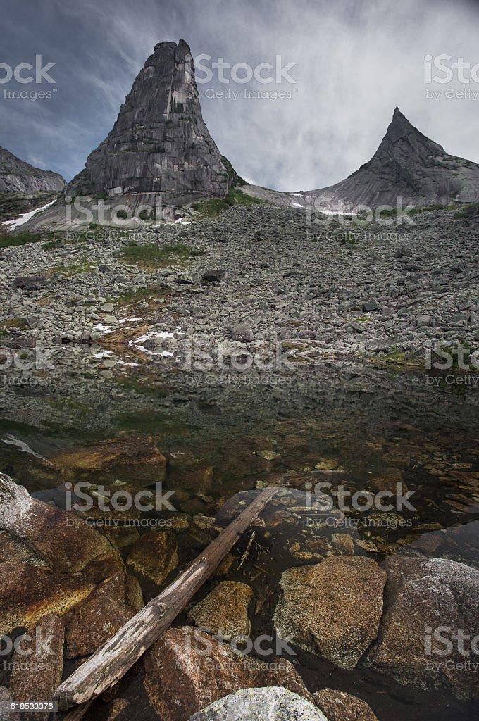 Mountain Lake, West Sayan, Nature park Ergaki stock photo