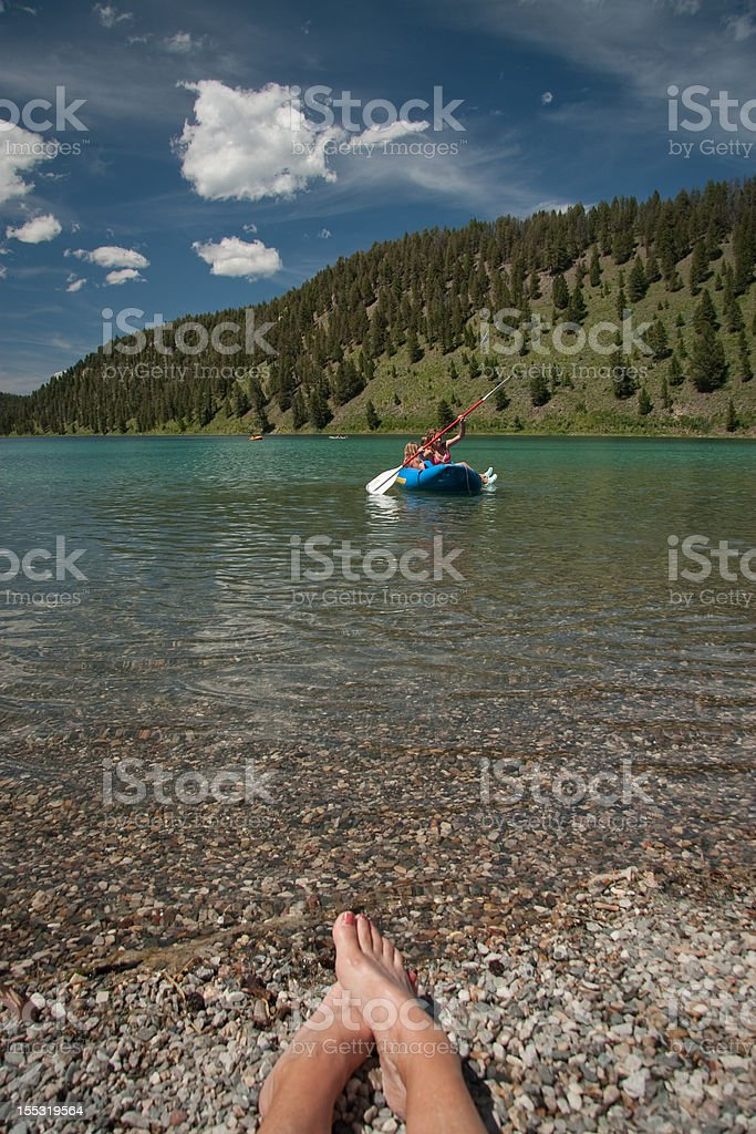 Mountain Lake with Kayak stock photo
