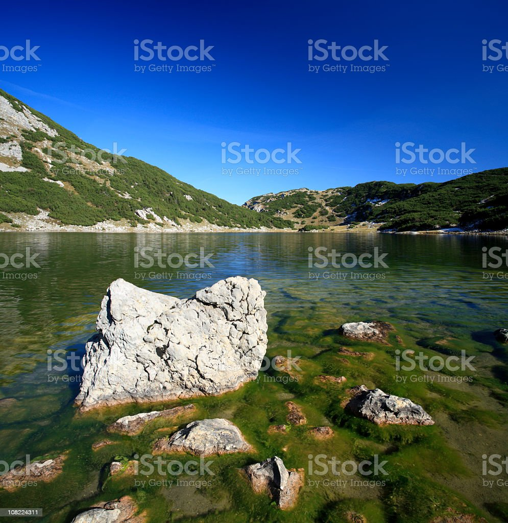 Mountain Lake with Moss Covered Rocks and Blue Sky royalty-free stock photo