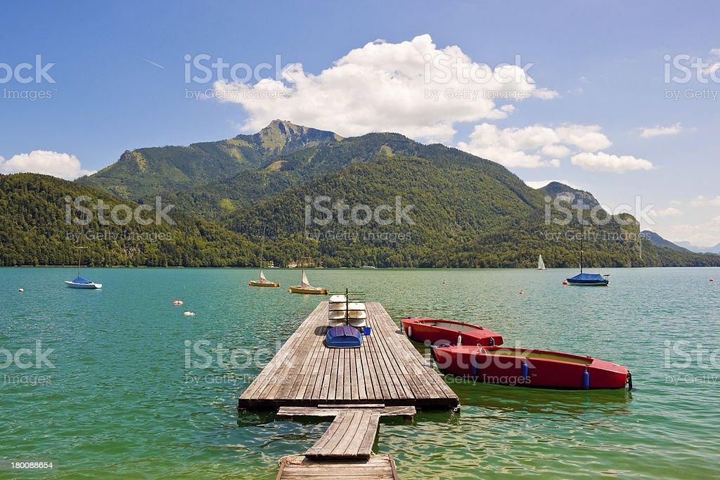 mountain lake Wolfgangsee stock photo