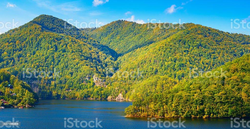 Mountain Landscape and Lake Tarnita in Cluj County Transylvania Romania stock photo