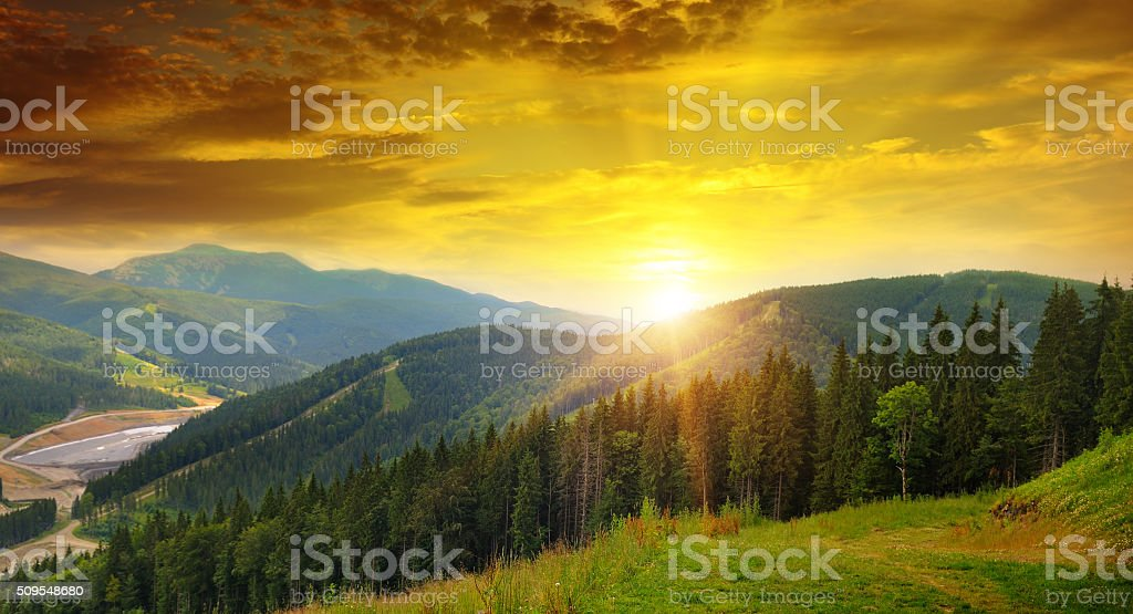 mountain landscape and sunrise stock photo