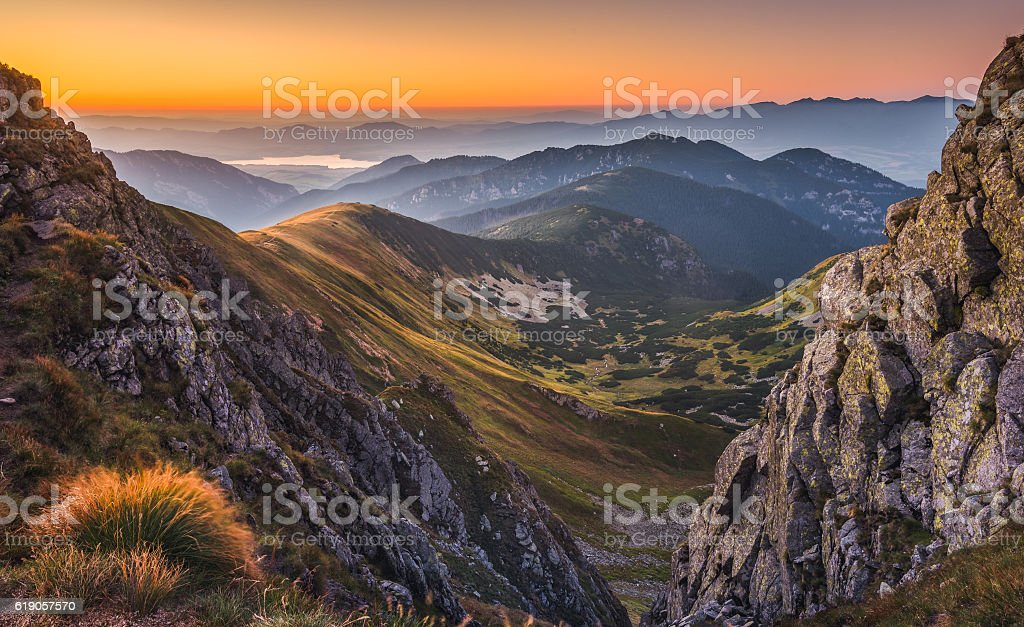 Mountain Landscape at Colourful Sunset stock photo
