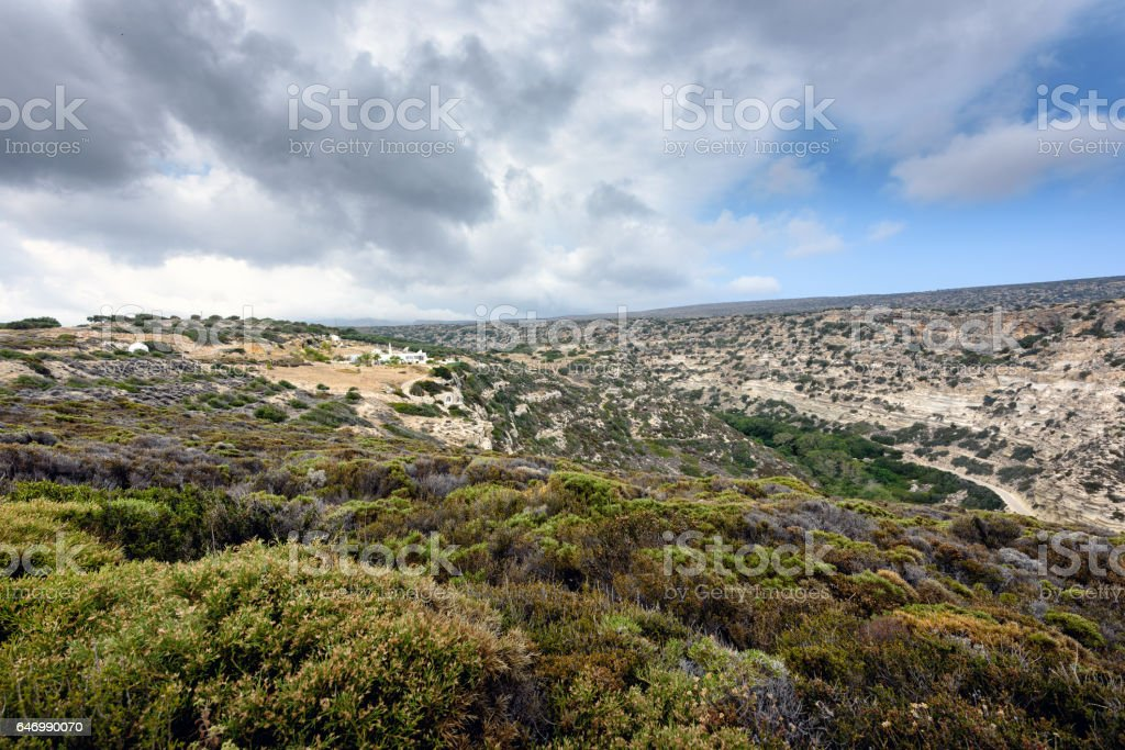 Mountain landscape at eastern part of Crete island, Greece stock photo