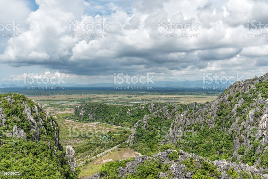 Mountain landscape at Khao Dang View point, Khao Sam Roi Yot National Park. Thailand. stock photo