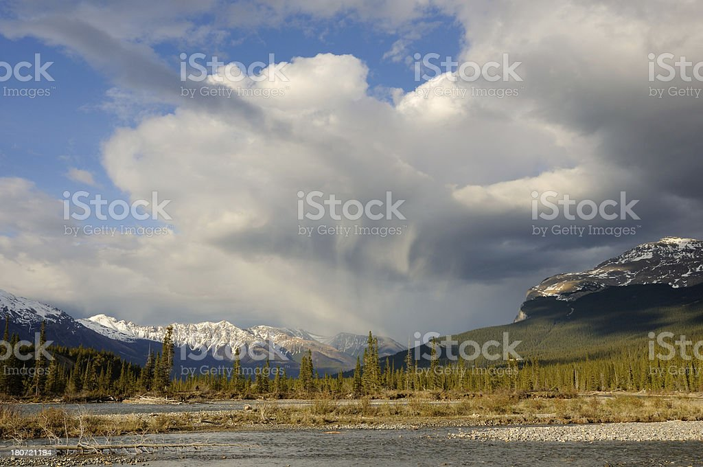 Mountain landscape at North Saskatchewan River, Canadian Rokies royalty-free stock photo