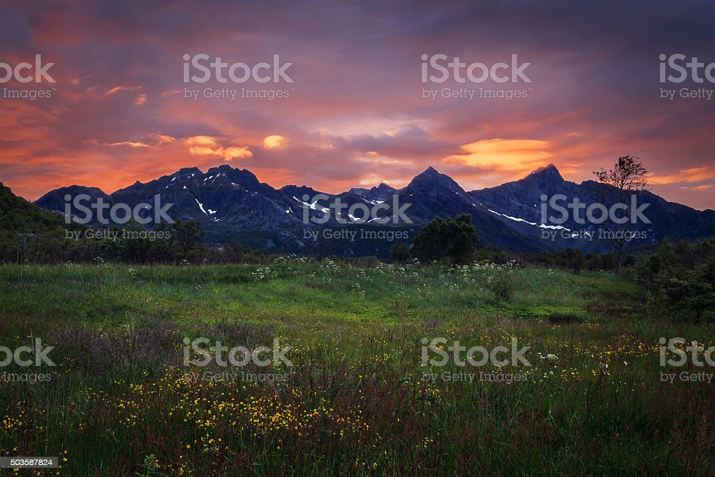 Mountain landscape at sunset in Norway stock photo