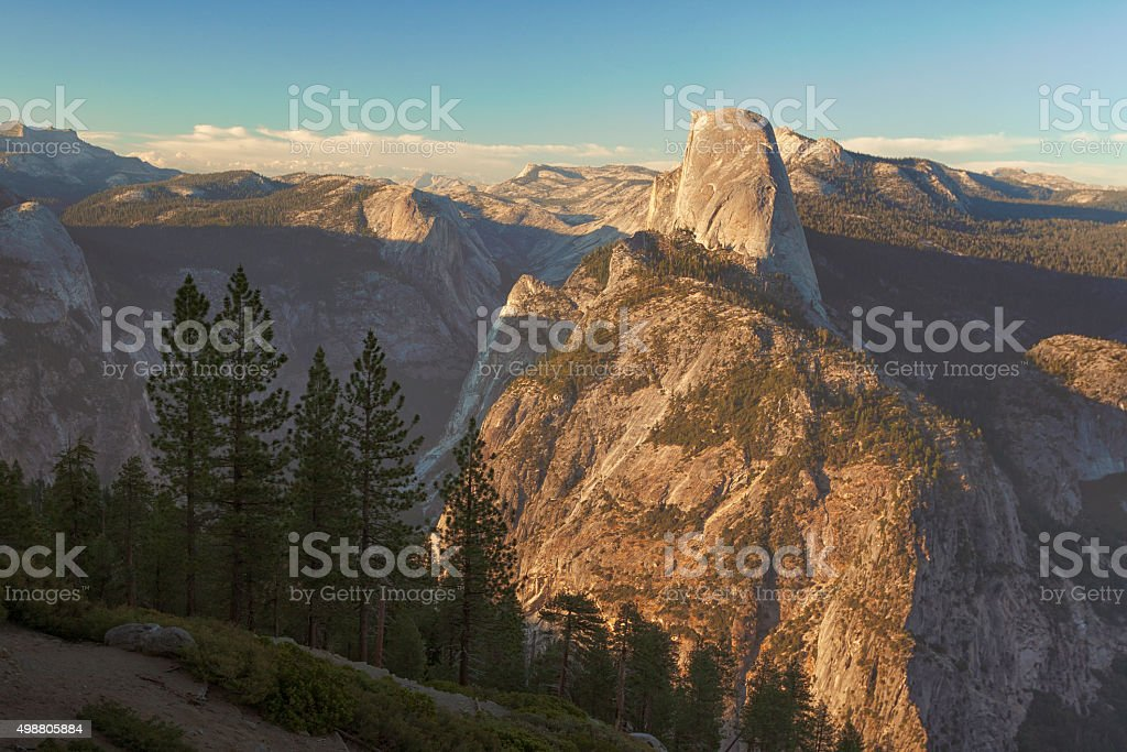 Mountain landscape at sunset stock photo