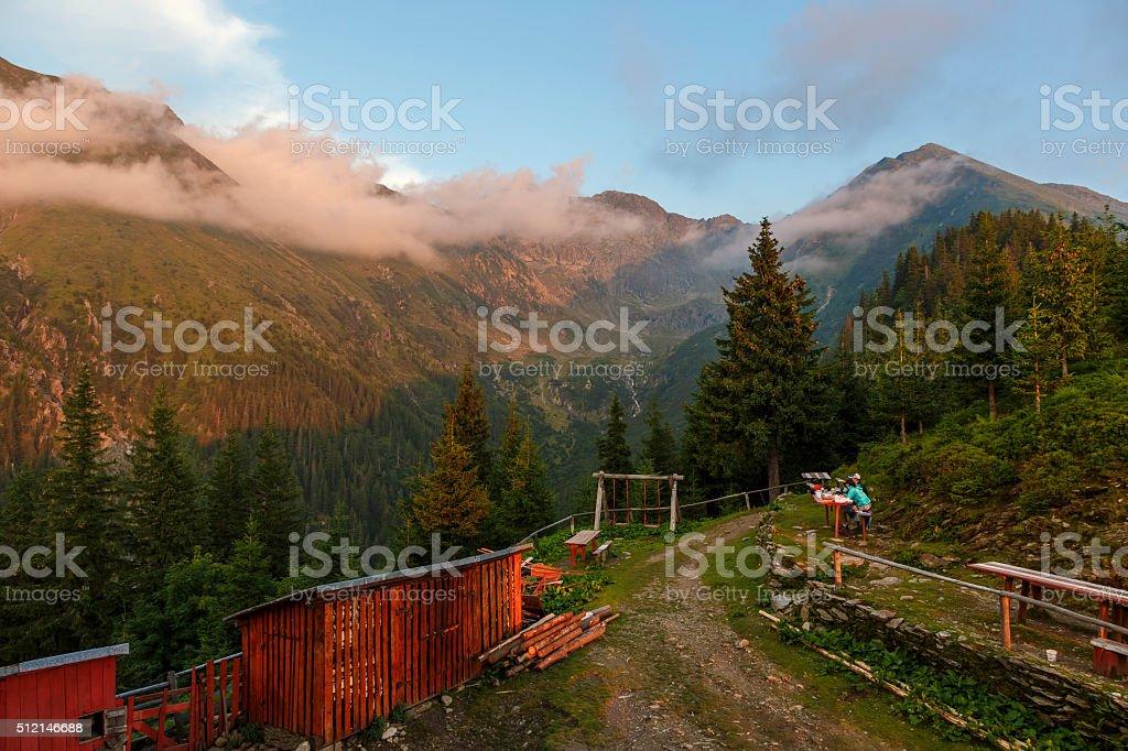Mountain landscape at sunset . stock photo