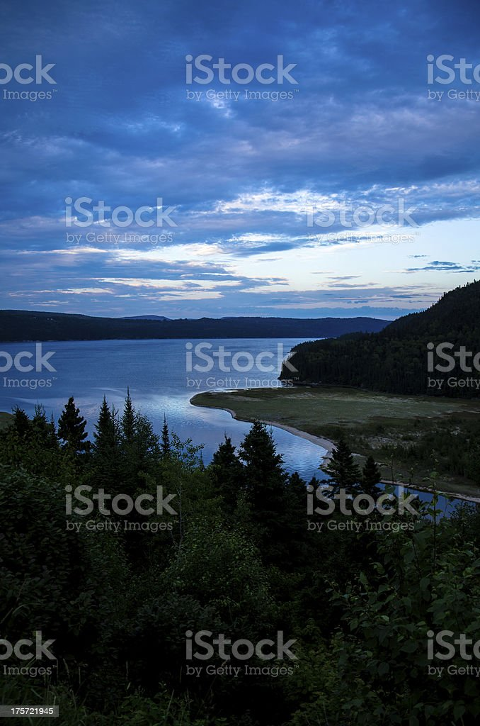Mountain, Landscape, Canada, Quebec, Lake, Dramatic Sky, Nature, Fjord, Shadow royalty-free stock photo
