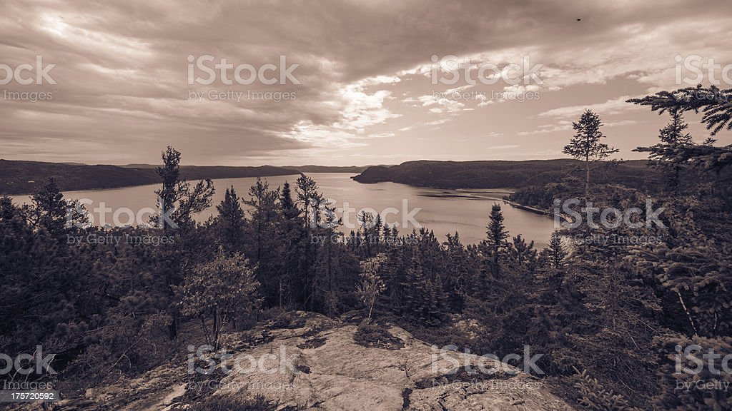 Mountain, Landscape, Canada, Quebec, Lake, Sky, Nature, Fjord royalty-free stock photo