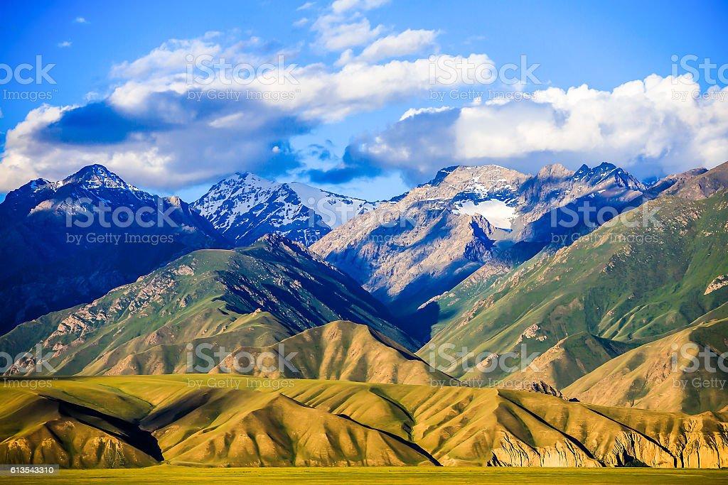 Mountain landscape clouds stock photo