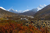Mountain landscape from Dingboche to Chukung village, Everest region, Nepal