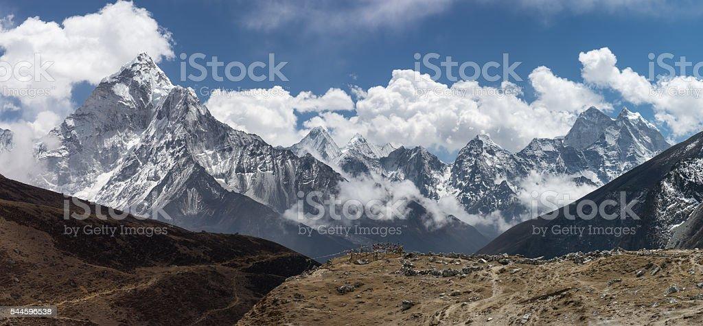 Mountain landscape from Thukla village, Everest region stock photo
