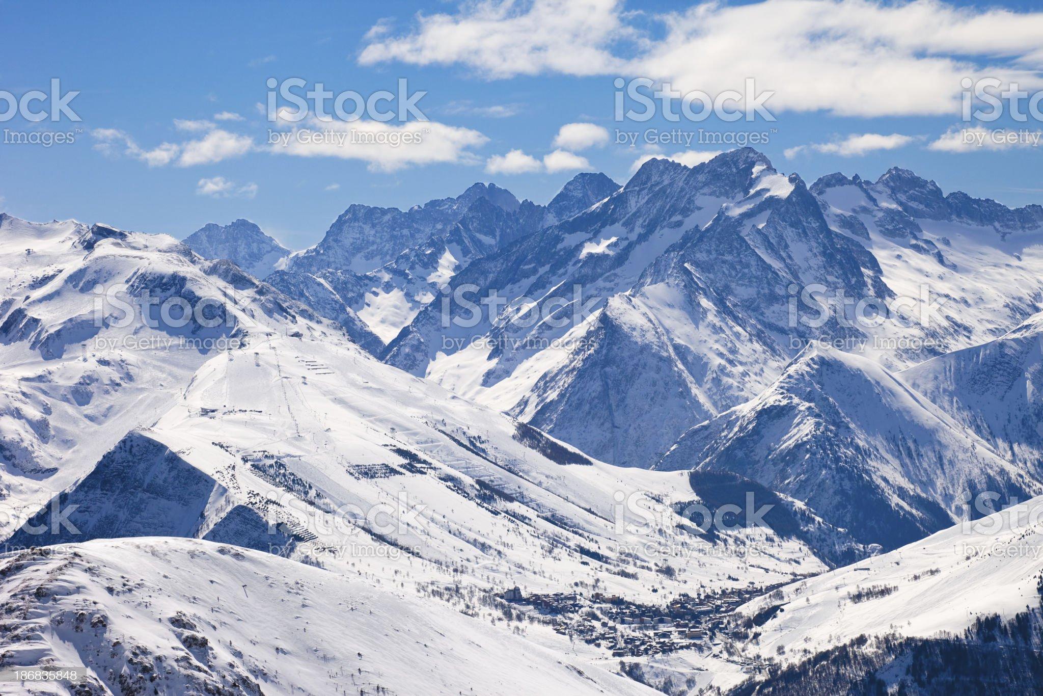 Mountain landscape in France ski resort  Les Deux Alpes royalty-free stock photo