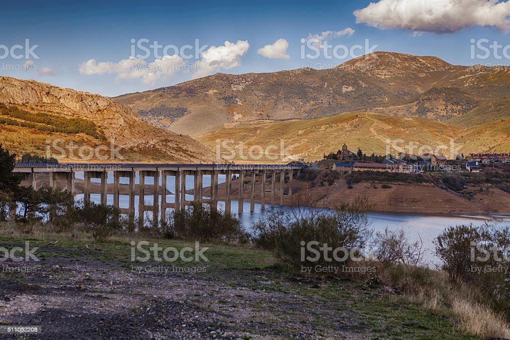 Mountain landscape in Riano stock photo