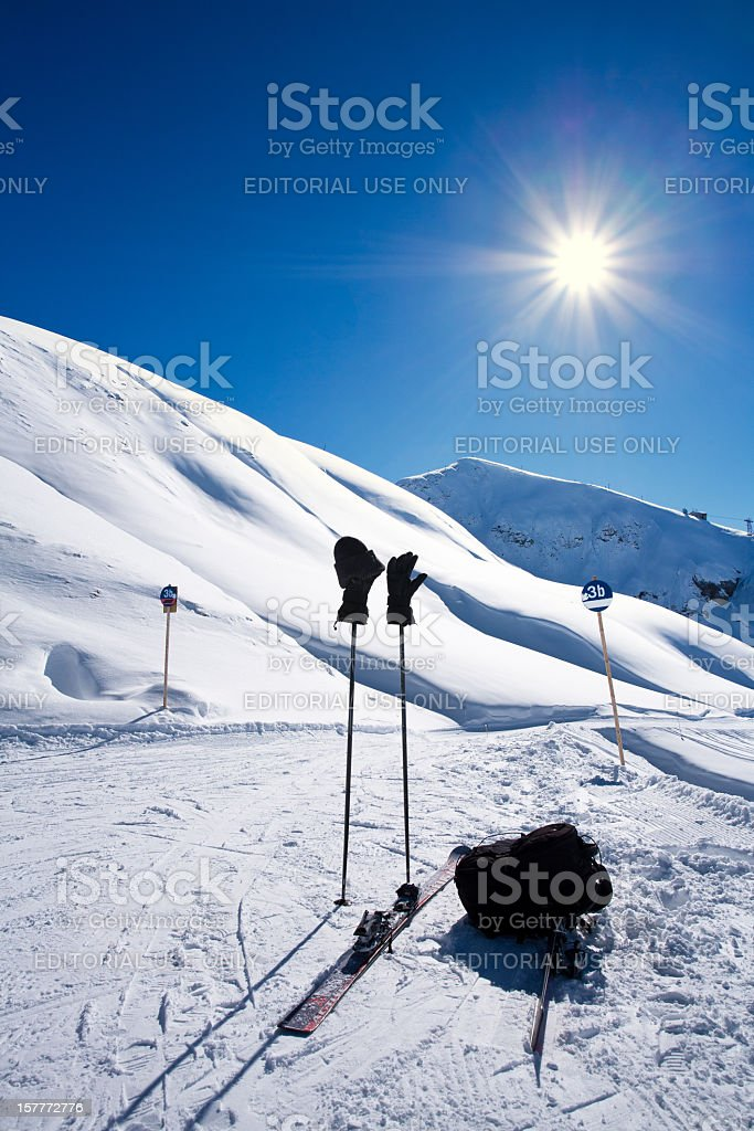 Mountain landscape in St. Anton, Austria ski resort stock photo