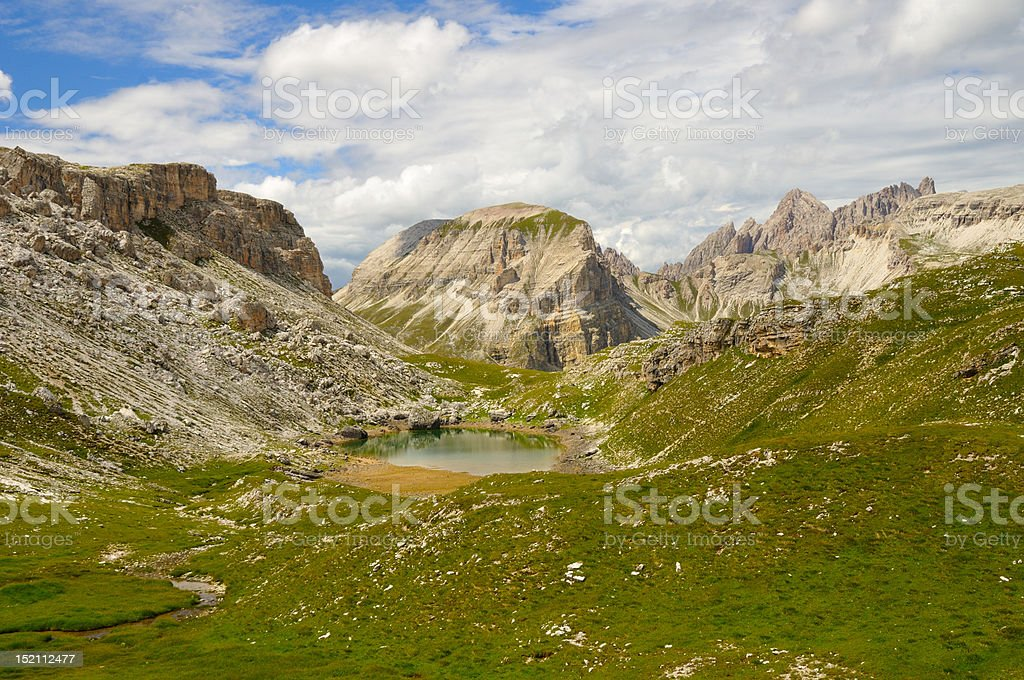 Mountain landscape in the dolomites stock photo