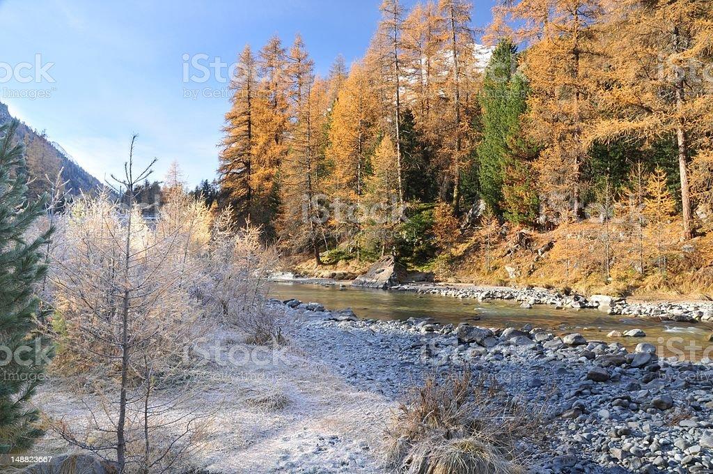 mountain landscape in Val Roseg, Switzerland stock photo