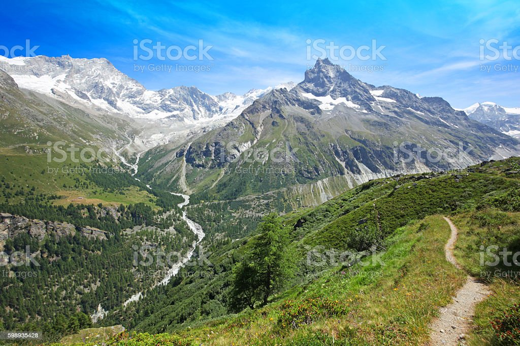 Mountain Landscape in Valais Canton Switzerland stock photo
