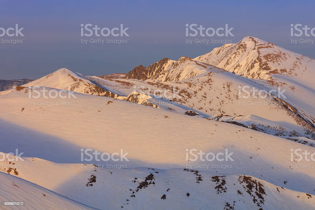 mountain landscape in winter stock photo