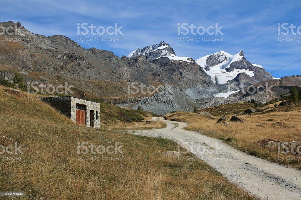 Mountain landscape in Zermatt stock photo