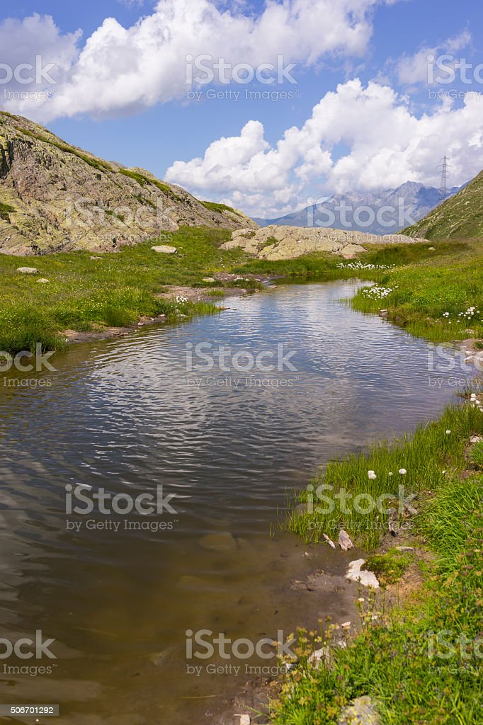Mountain landscape near the Great St Bernard Pass (Switzerland) stock photo
