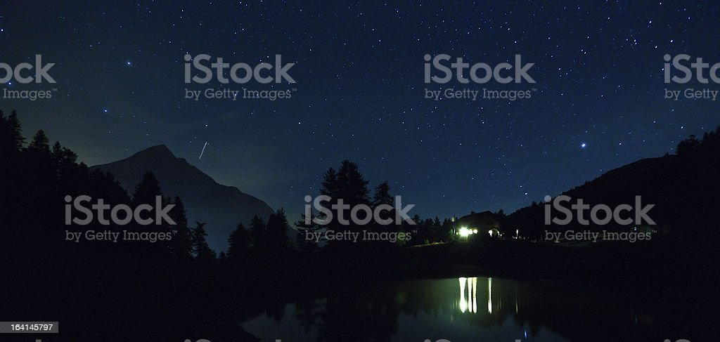 Mountain Landscape Night in the Alps, Mount Chaberton royalty-free stock photo