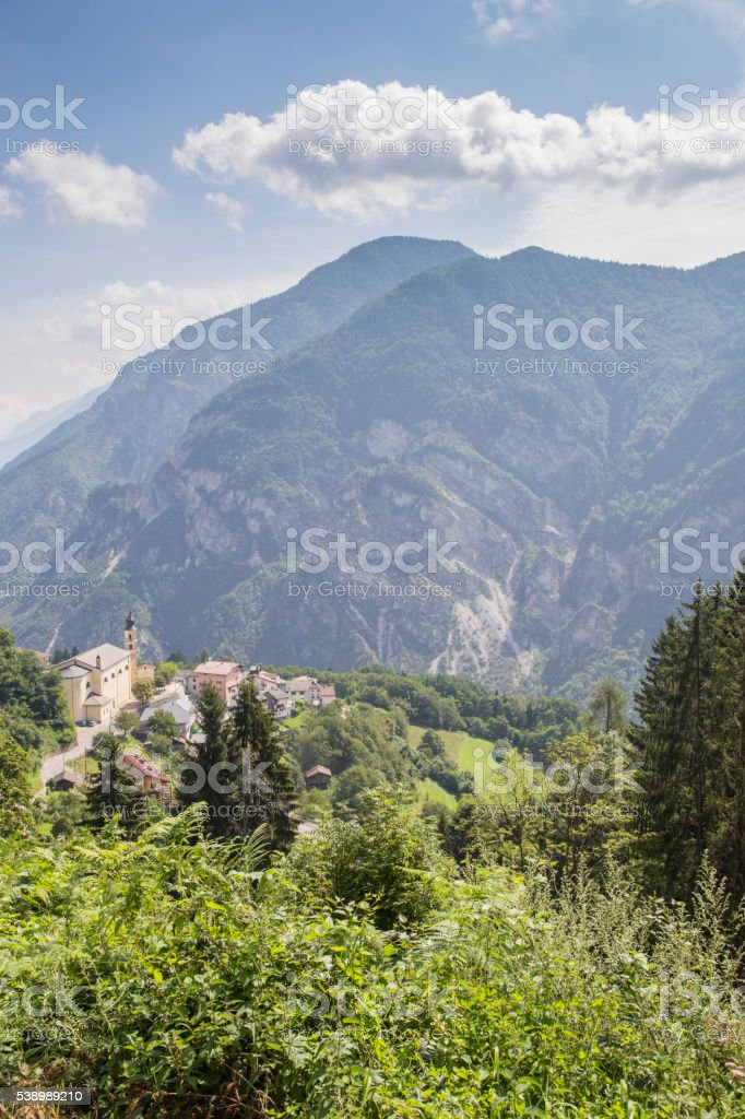 Mountain landscape of foothills of the Alps stock photo