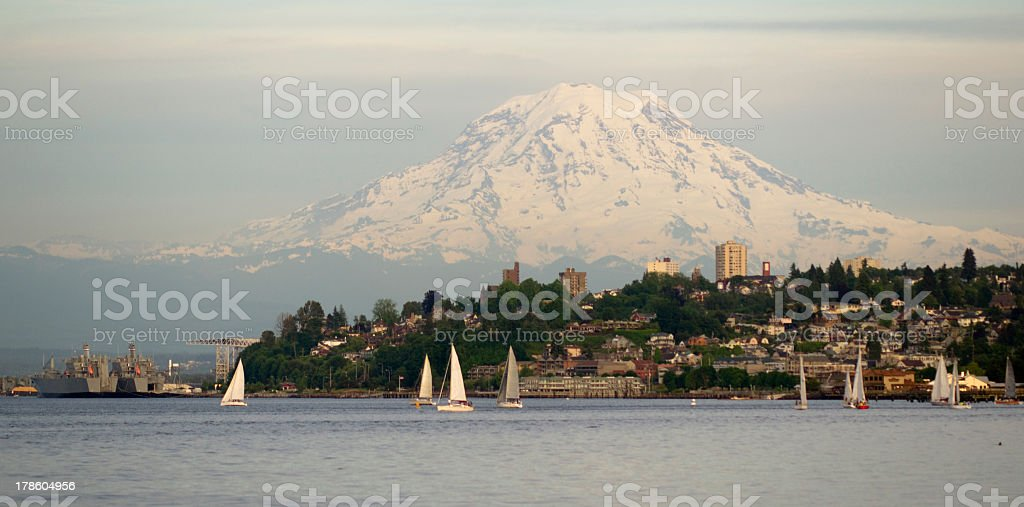 Mountain landscape of regatta commencement at Puget Sound stock photo