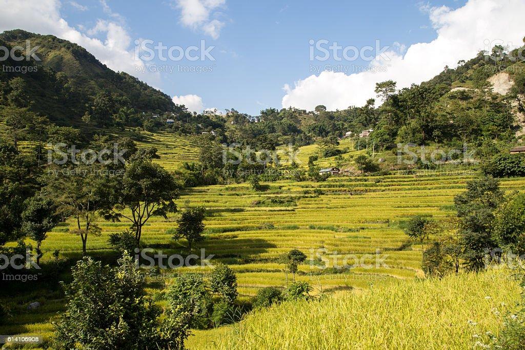 Mountain landscape on the Annapurna Circuit, Nepal stock photo