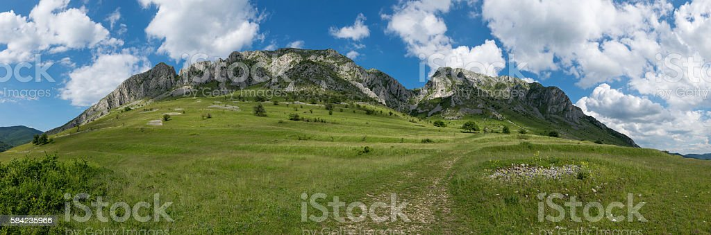 Mountain landscape panorama, Piatra Secuiului in Transilvania, Romania stock photo