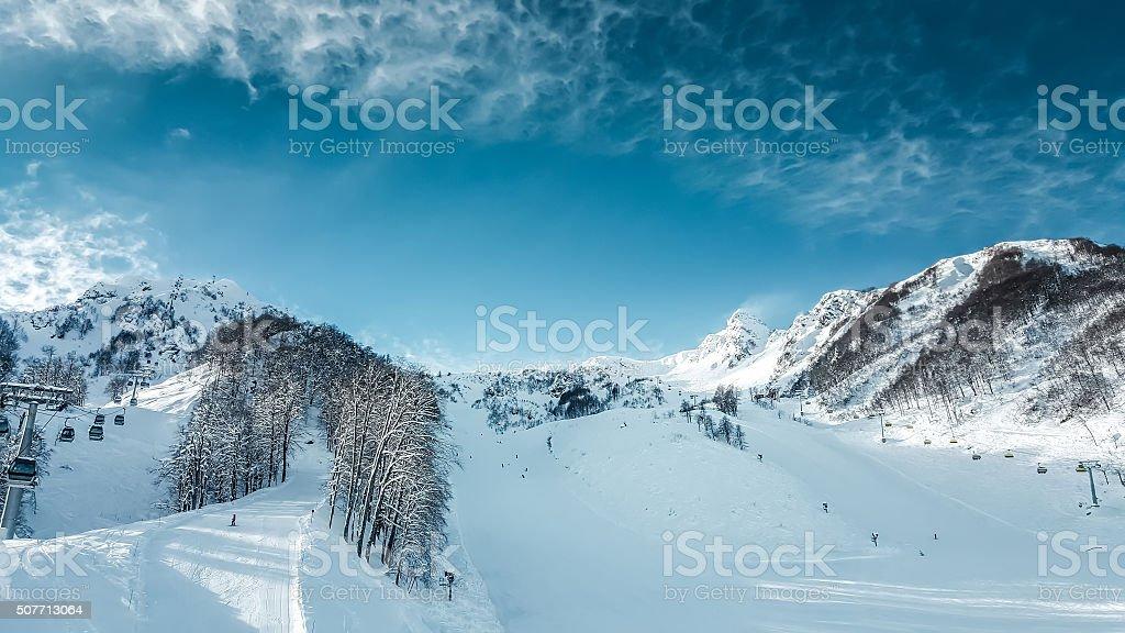 Mountain landscape panorama, ski slope stock photo
