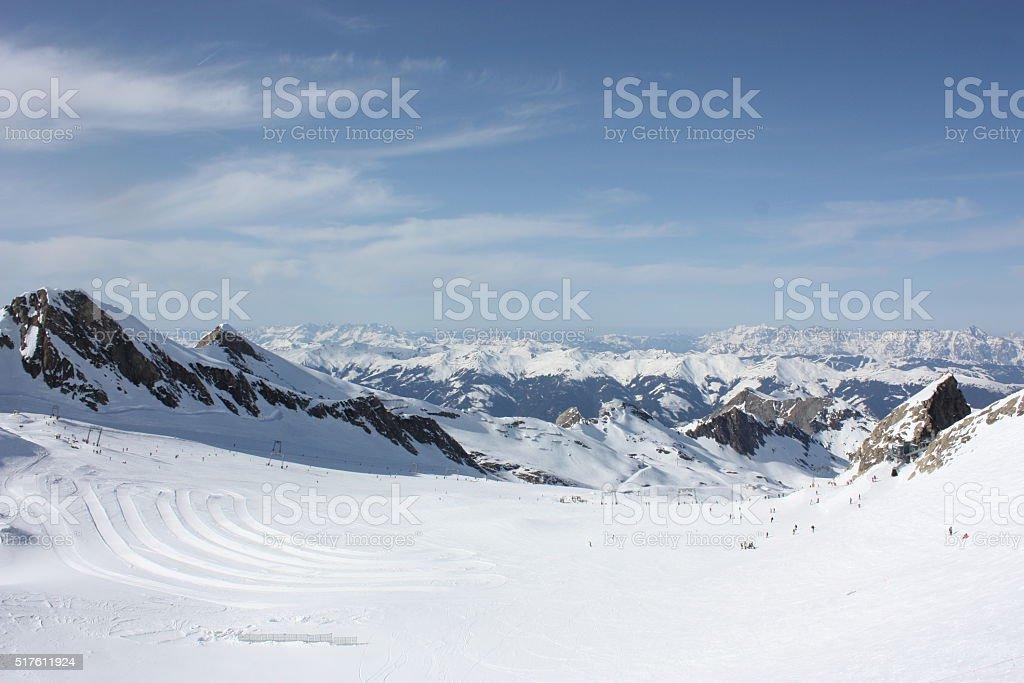 Mountain landscape. Skiing resort in Apls, Kaprun, Austria. stock photo