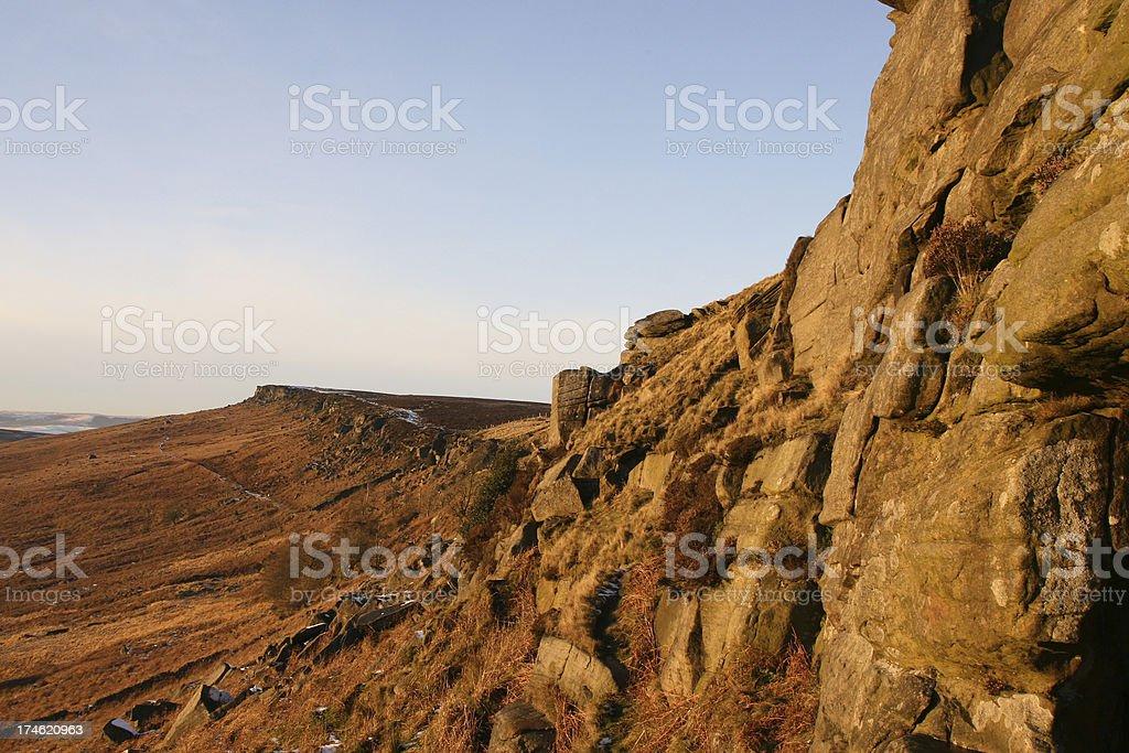 mountain landscape, Stanage Edge, Peak District National Park stock photo