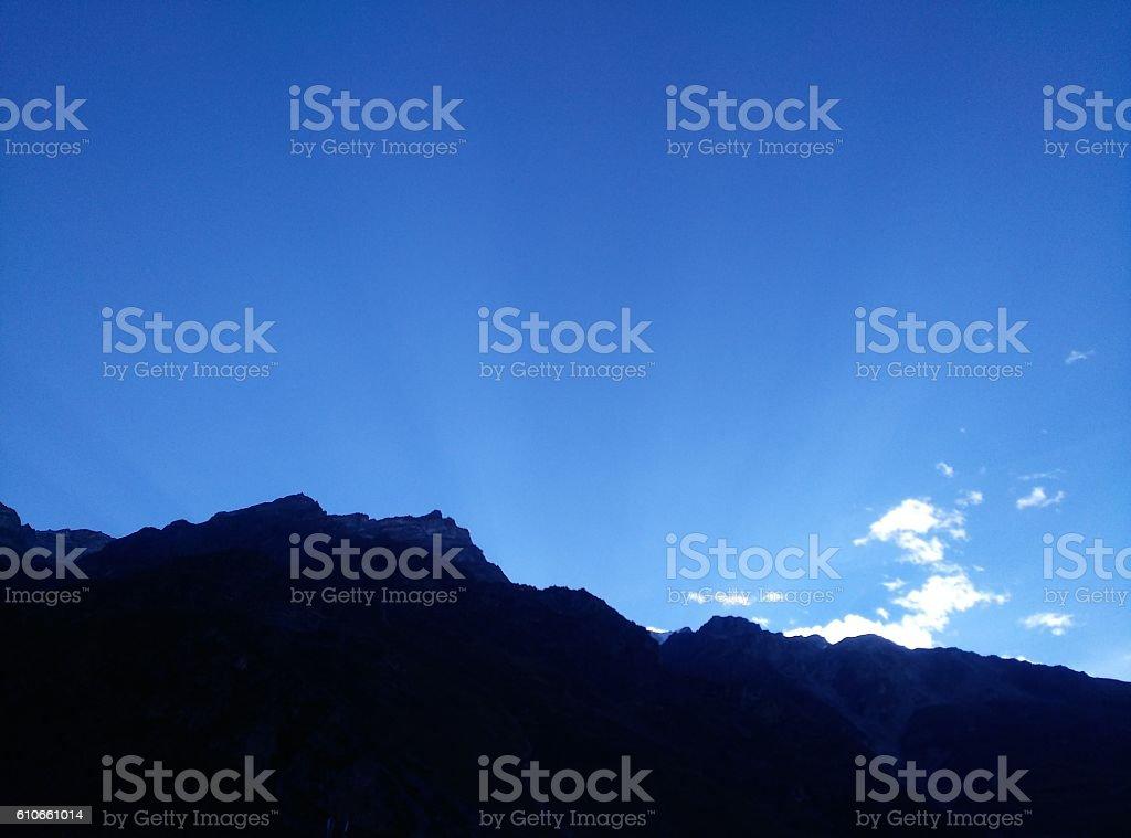 Mountain Landscape Sun Rays  Behind Mountain stock photo