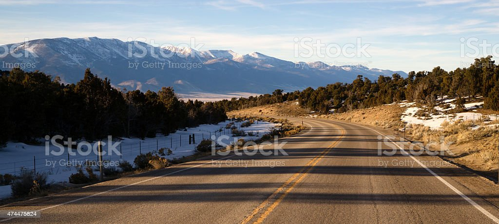 Mountain Landscape Surrounding Great Basin Nevada Highway Route stock photo