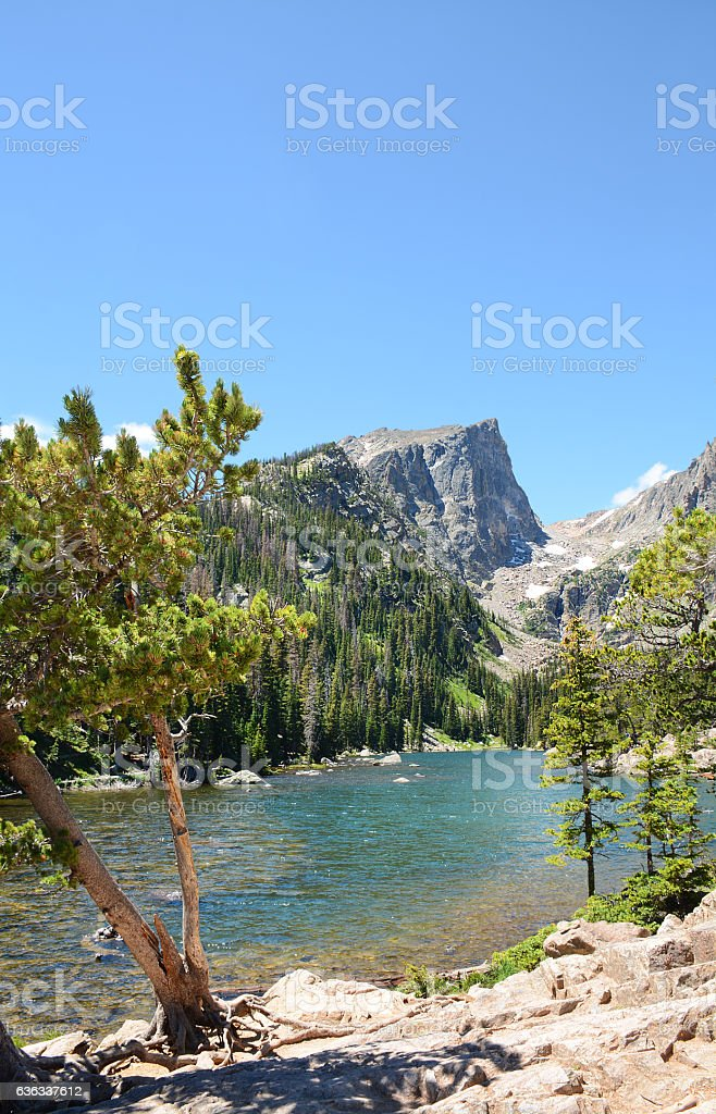 Mountain landscape with beautiful  lake. stock photo
