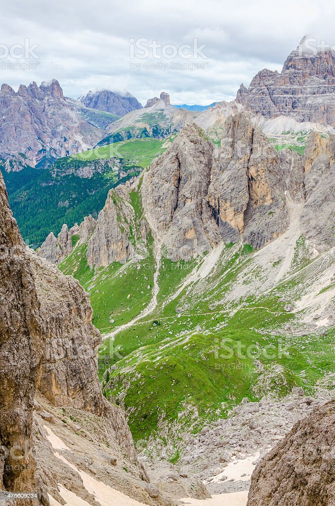 Mountain landscape with blue sky in Dolomites stock photo