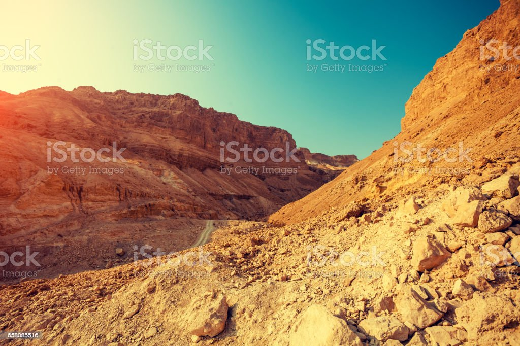 Mountain landscape with blue sky. Judaean Desert, Masada, Israel stock photo
