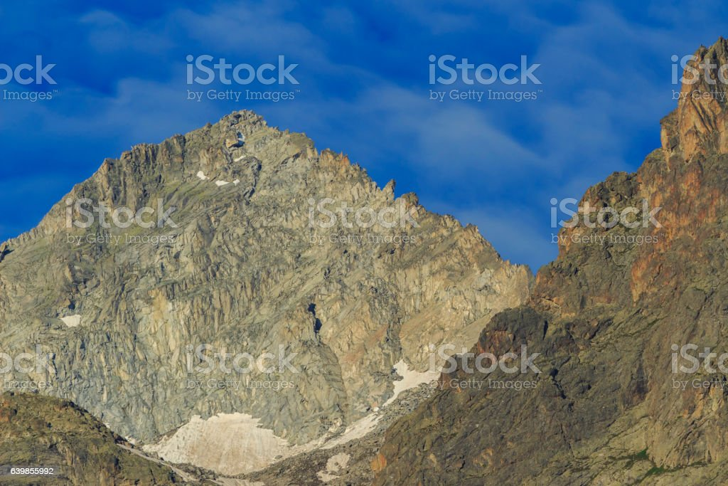 Mountain landscape with blue sky stock photo
