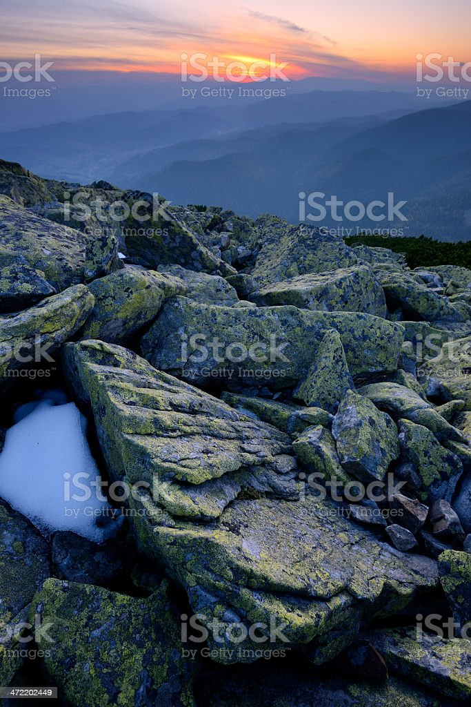 Mountain landscape with blue twilight royalty-free stock photo
