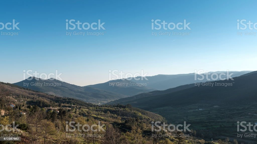 Mountain landscape with clear blue sky stock photo