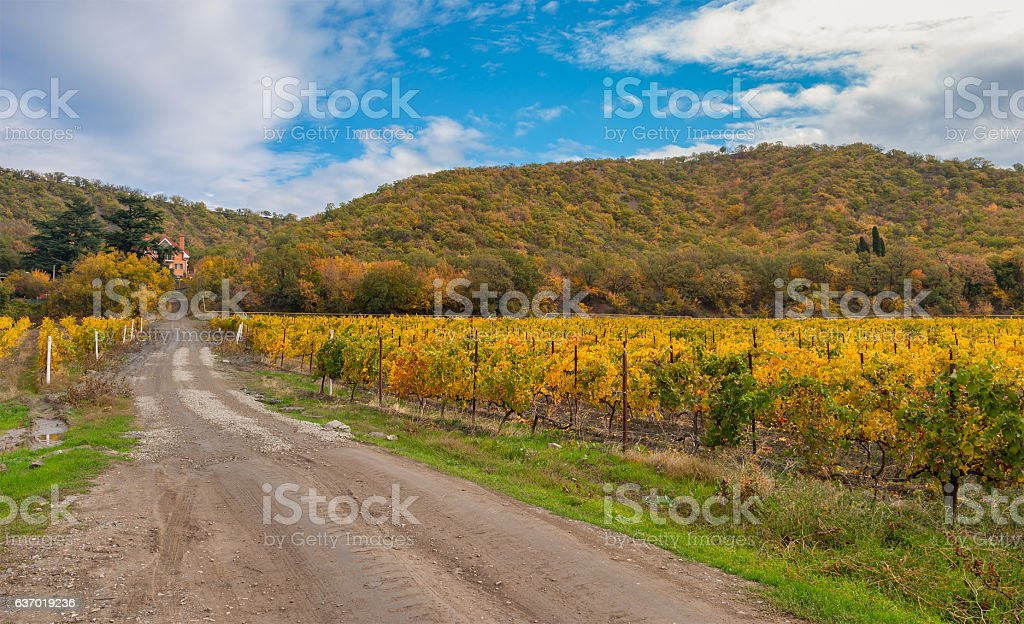 Mountain landscape with earth road leading to remote settlement stock photo